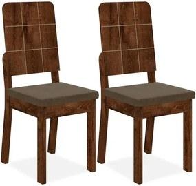 Kit 2 Cadeiras de Jantar, Rústico Malbec, Pena Marrom, Bali