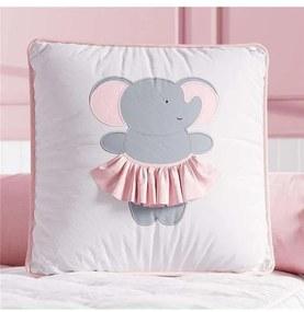 Almofada Rosa Quadrada Elefantinha Decorativa Grão