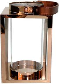 Lanterna Decorativa China Aluminio e Vidro Quadrada com Cilindro Rose D14cm x A23cm