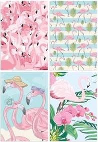 Kit de Placas Decorativas Flamingos Tropicais 4un 30x40cm
