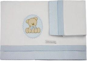 Lençol De Berço 03 Peças Urso Minha Casa Baby Azul