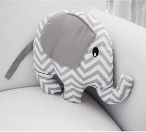 Almofada Decorativa Elefante Chevron Cinza