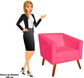 Poltrona Decorativa Sara Suede Rosa Barbie Pés Palito - D'Rossi