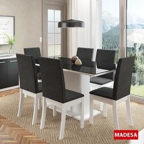 Mesa de Jantar 6 Lugares Flora 04559 Branco/Preto - Madesa
