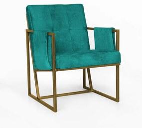 Poltrona Megan Luxo  Decorativo Base Dourado Suede Azul Tiffany