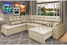 Sofa de Canto Retrátil e Reclinável com Molas Cama inBox Platinum Esquerdo 3,40x2,36 Suede Bege