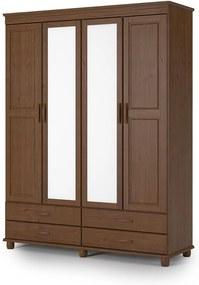 Roupeiro Sevilha com 4 Portas - 4 Gavetas - Espelho Central