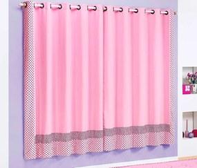 Cortina Clarinha 2,00m x 1,70m Para Varão Simples - Rosa Rosa
