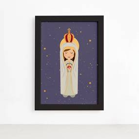 Quadro Nossa Senhora de Fátima Moldura Preta 22x32cm