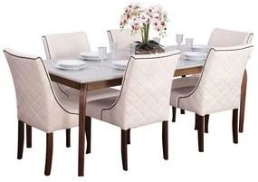 Conjunto Sala de Jantar Mesa Valência com 6 Cadeiras Piper - Wood Prime 44676