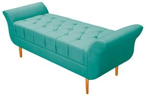 Recamier Estofado Ari 160 cm Queen Size Suede Azul Tiffany - ADJ Decor