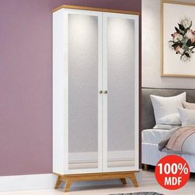 Sapateira 2 Portas Espelhadas Retrô 100% MDF C706 Off White/Freijo - Dalla Costa