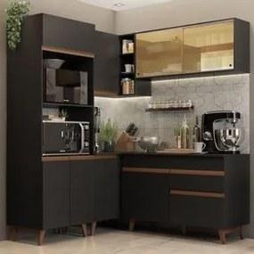 Cozinha Completa de Canto Madesa Reims 332001 com Armário e Balcão Preto Cor:Preto