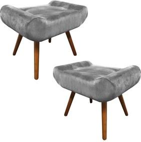 Kit 2 Puffs Decorativos Muu Pés Palito Suede Cinza Claro - Sheep Estofados - Cinza claro