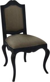 Cadeira em Madeira Luis XV Preta Estofado Marrom - 98x60x55cm
