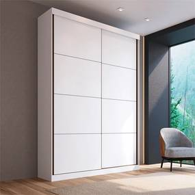 Guarda-roupa Miami (L: 219cm) C/ 2 Portas de Correr 100% MDF Branco