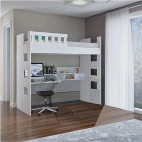 Cama Alta C/ Escrivaninha e Grade de Proteção 100% MDF Branco Foscarini