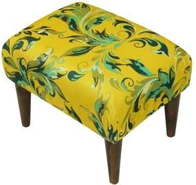 Banqueta Decorativa Retangular Adamascado Verde com Amarelo em Suede com Pés Palito