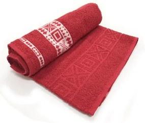 Toalha De Banho Nomade  Cor Vermelha C/ Branco 75cm X 1,40m