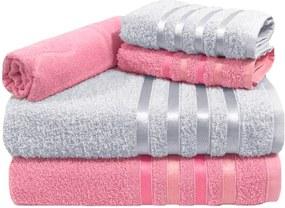 Jogo de Toalha 5 Peças kit de toalhas 2 banho 2 rosto 1 piso Rosa e Branca