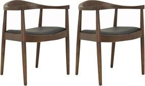 Kit 2 Cadeiras Decorativas Sala e Escritório Colonial Madeira Tabaco - Gran Belo
