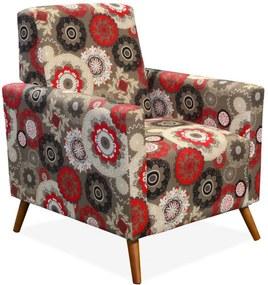 Poltrona Decorativa Lyam Decor Liz Floral Vermelho