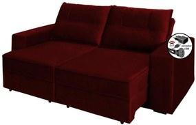Sofa 2 Lugares Retratil Reclinavel Versatile 2,00 M com USB Suede Vermelho