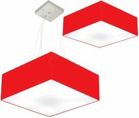 Kit Plafon Quadrado Md-3002 e Pendente Md-4032 Cúpula em Tecido 50x50cm Vermelho - Bivolt