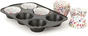 Forma para Cupcakes - 6 Cavidades - Preto - Multiflon