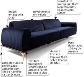 Sofá 4 Lugares Sala de Estar Base de Madeira Euro 280 cm Veludo Azul - Gran Belo