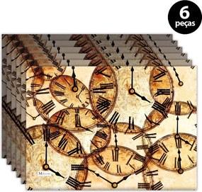 Jogo Americano Mdecore Relógios 40x28cm Colorido6pçs