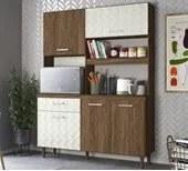 Kit Cozinha 4 Portas Yara 140 CM Évora Rust Off White 3D Nicioli