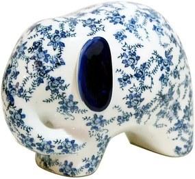 Elefante em Porcelana Azul e Branca G