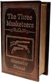 Book Box Os Três Mosqueteiros Marrom em Madeira e Couro Sintético