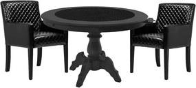 Mesa de Jogos Carteado Montreal Redonda Tampo Reversível Preto com 2 Cadeiras Liverpool Corino Preto Matelassê - Gran Belo