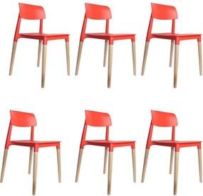 kit 6 Cadeiras Decorativas Sala e Cozinha (PP) Viper Vermelha - Gran Belo