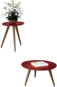Mesa de Centro e Mesa Lateral com Pés Palito Sorelle Vermelho - HB Móveis