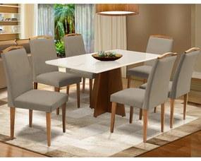 Conjunto Mesa Leticia 1,60 m Off White + 6 Cadeiras Keli Veludo Cappuccino