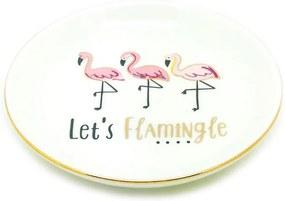 Mini Prato Porta Jóia Cerâmica Flamingos