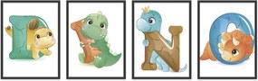 Quadro 60x160cm Infantil Dinossauro Letras Moldura Preta sem Vidro Decorativo