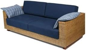 Sofa Salinas 3 Lugares Assento cor Azul Marinho com Base Madeira Revestida em Junco - 44785 Sun House