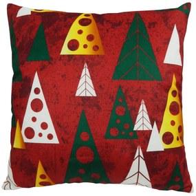 Capa de Almofada Natalina Árvores Vermelho 44x44cm