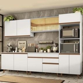 Cozinha Completa Madesa Reims 310001 com Armário e Balcão - Branco Branco