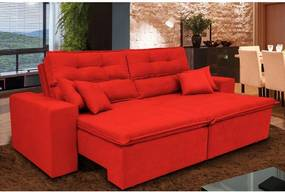 Sofá Cairo 2,72m Retrátil Reclinável, Molas no Assento, 4 Almofadas Tecido Suede Vermelho Cama InBox
