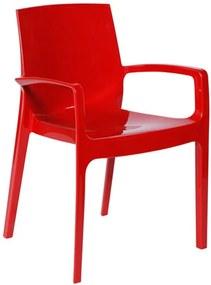 Cadeira Tessália com Braços Estruturada em Polipropileno Vermelho