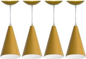 Kit 4 Pendentes Cone (dourado / Branco)