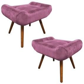 Kit 2 Puffs Decorativos Muu Pés Palito Suede Rosê - Sheep Estofados - Rosa