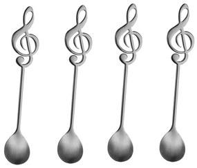 Jogo Colheres Para Chá 4 Peças Inox Music Preto 28293 Bon Gourmet