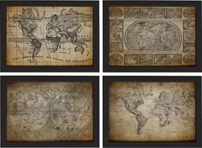 Quadros Mapas Antigos Vintage Moldura Preta 22x32cm Kit 4un