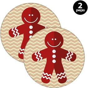 Capa para Sousplat Mdecore Natal Biscoito Bege2pçs